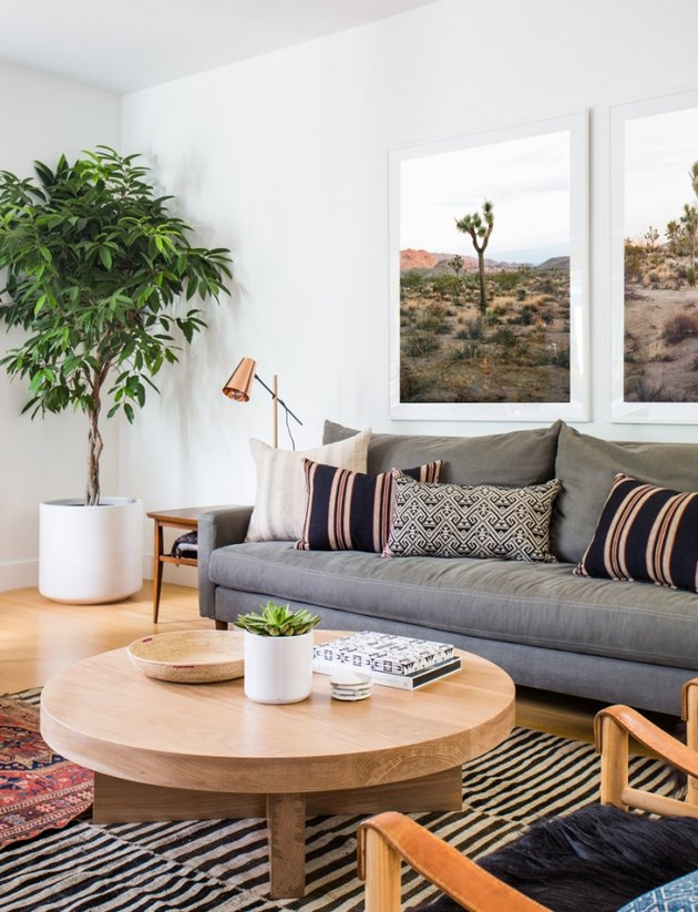 sage and off-white desert house color palette in living room