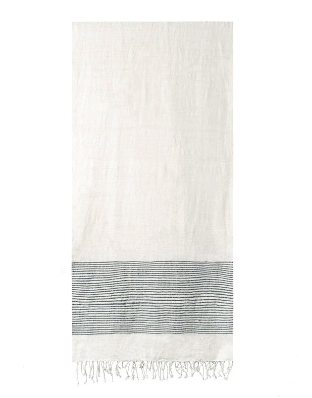 cotton bath towel with navy stripes