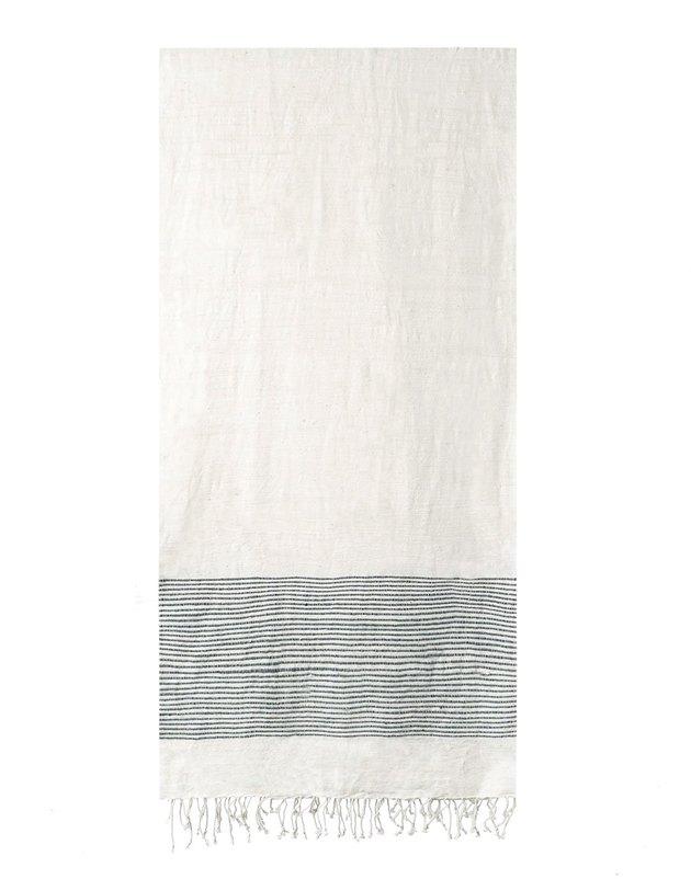 cotton bath towel with navy stripes