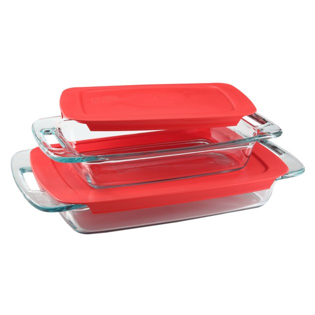Pyrex 4-piece Glass Bakeware Set with Red Lids