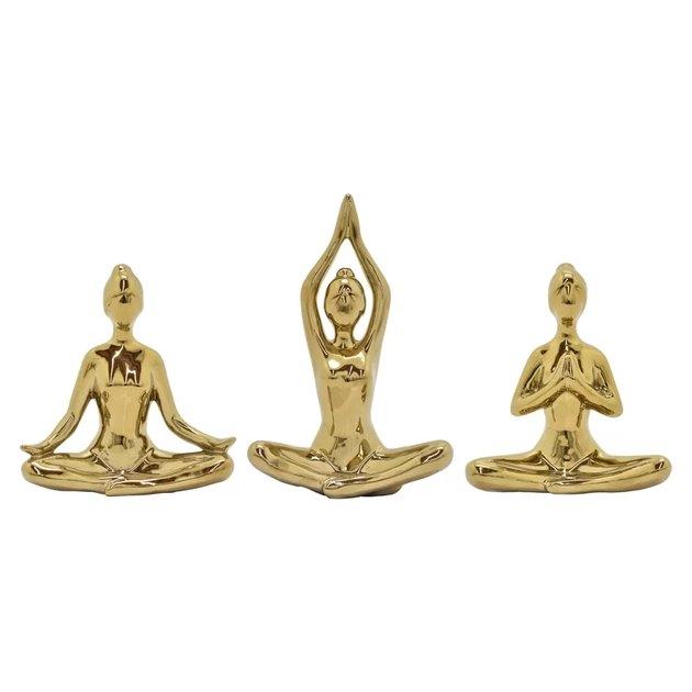 3 Piece Newsoms gold Ceramic Yoga Figurine Set