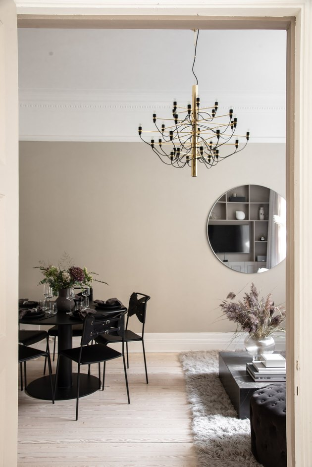 beige color with white in open plan living space with black table