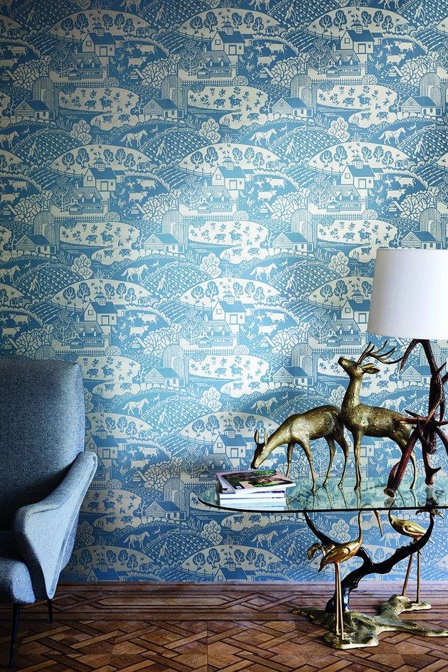 blue Asian-inspired wallpaper