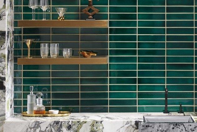 green tiles by kohler made from ceramic waste