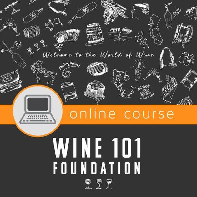 "Image with text ""online course"" over ""Wine 101 foundation"""