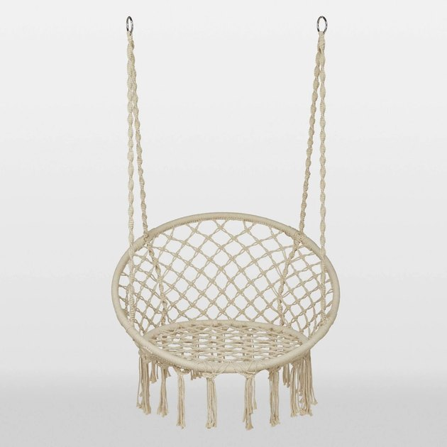 Off-white circular floating woven hammock chair