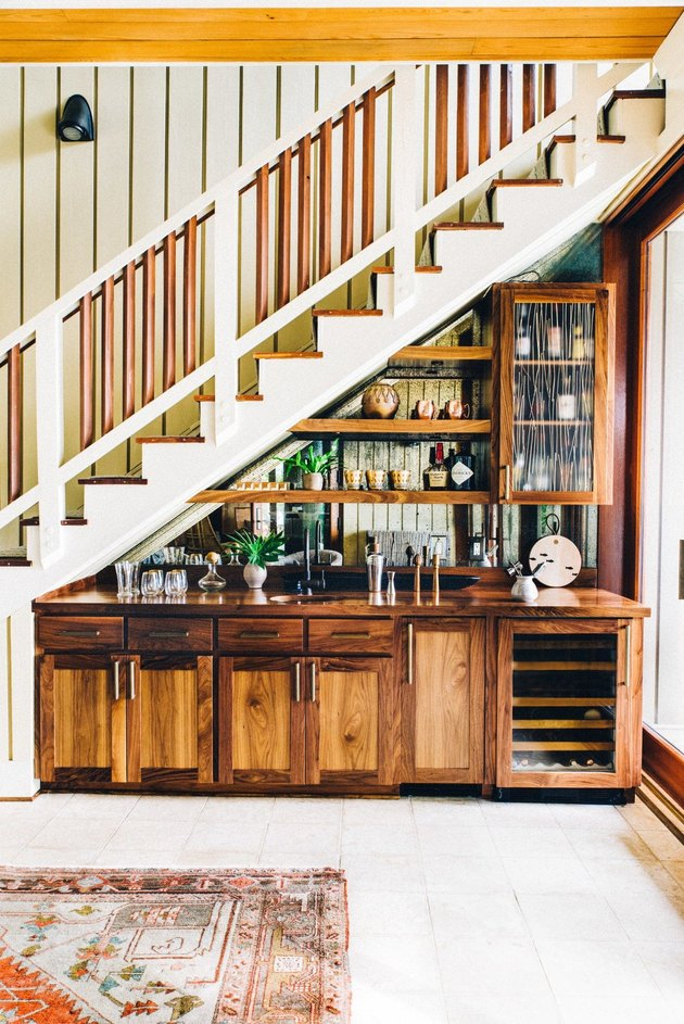 basement bar under the stairs