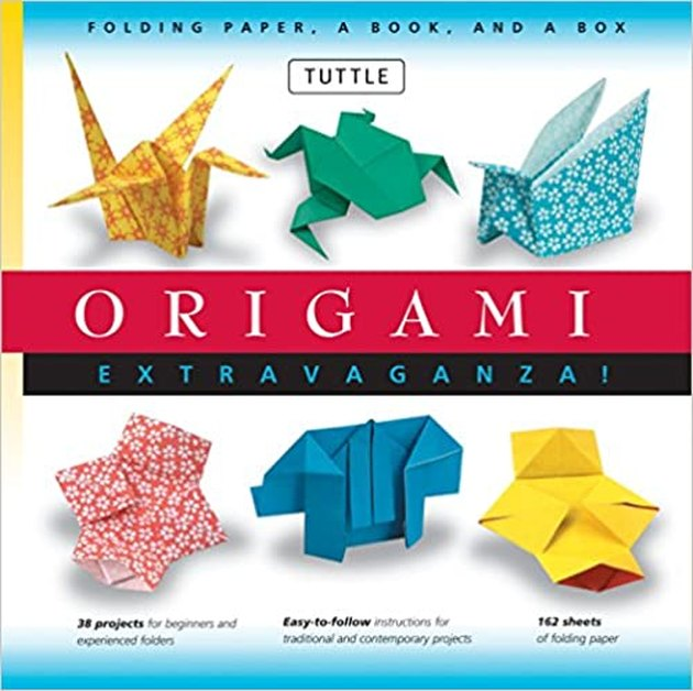 Origami book cover with six origami shapes in different colors