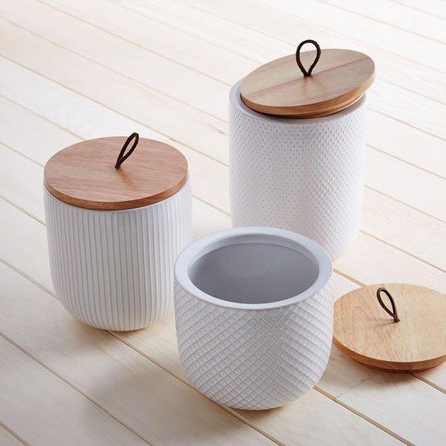 White kitchen canisters farmhouse kitchen idea