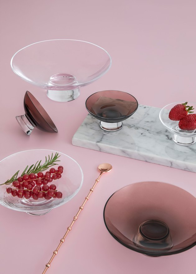 smoked glass bowls by nude glass at milan design week