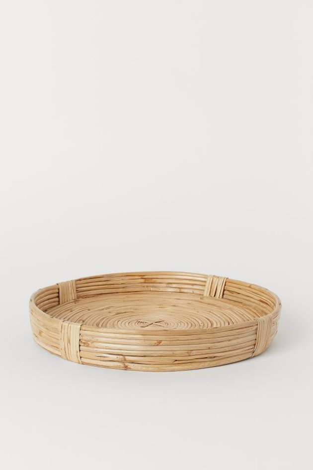round rattan braided tray