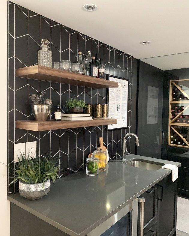 black basement bar idea with wine room