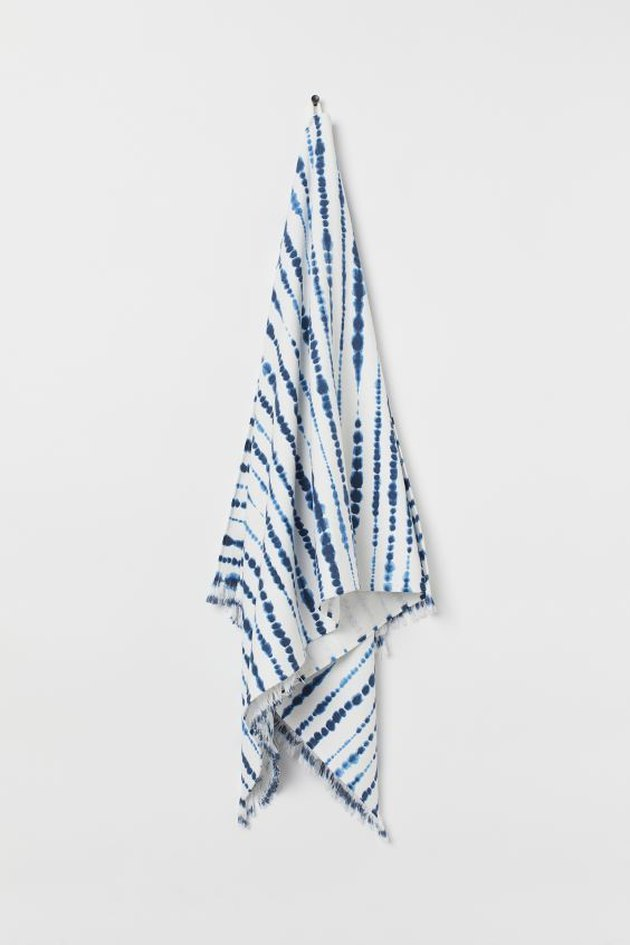 blue and white batik patterned beach towel