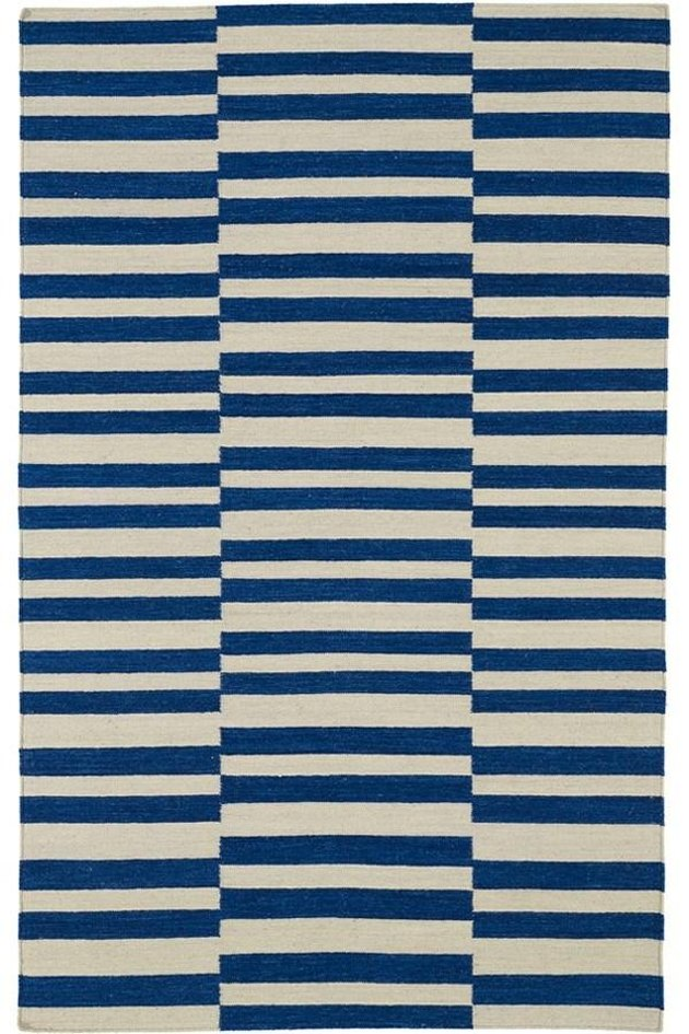 Navy blue and cream striped rug