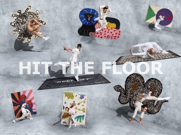 composite image of rugs with dancers