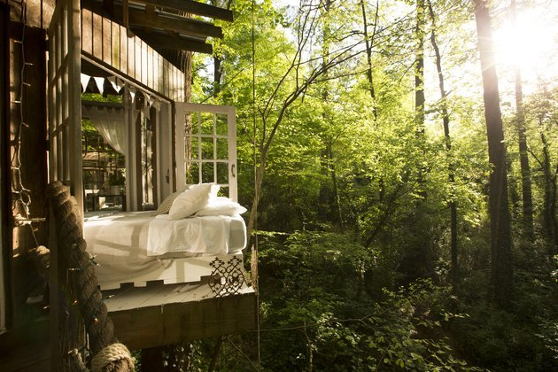 bed in a treehouse suspended above the forest floor
