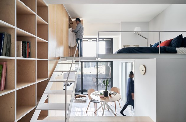 split-level apartment with modular bookcase and lofted bedroom