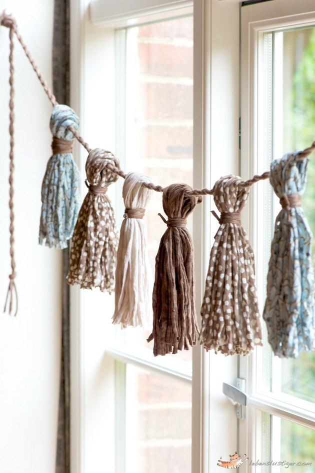 Scarves strung across a window