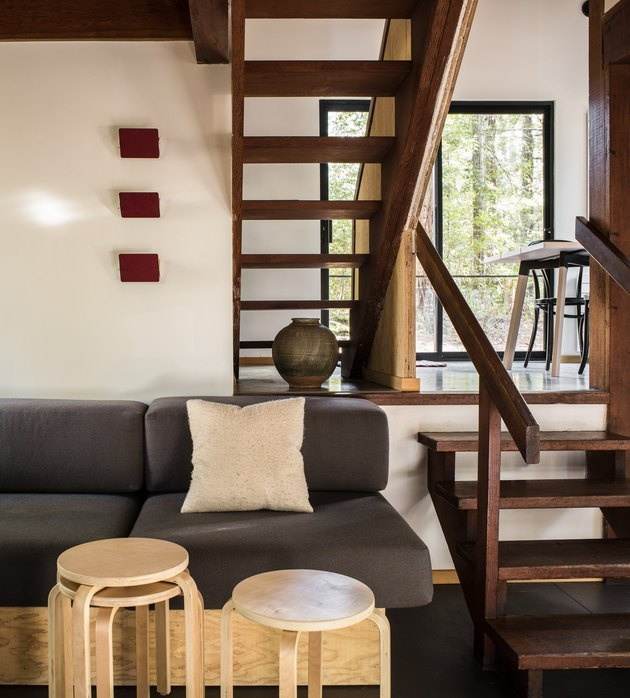 rustic meets modern midcentury cabin split-level living room