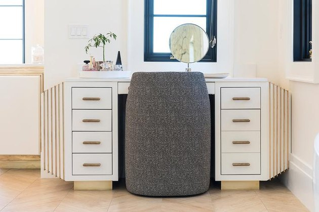 art deco decorating on a budget desk with gray chair
