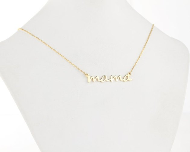 gold dainty line mama necklace