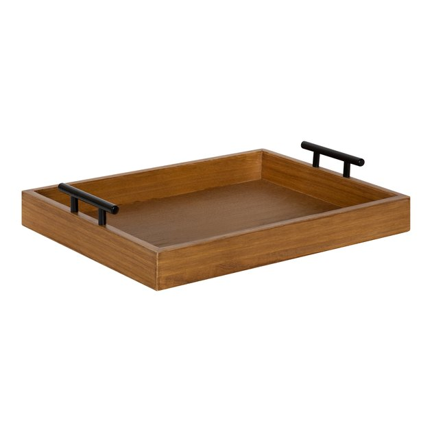 Kate and Laurel Lipton Decorative Wooden Tray with Metal Black Handles