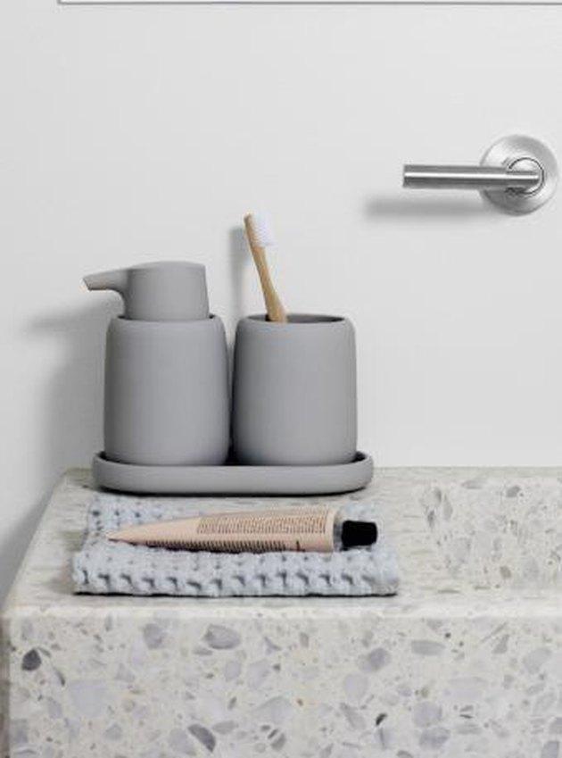 minimalist bathroom toiletries collection