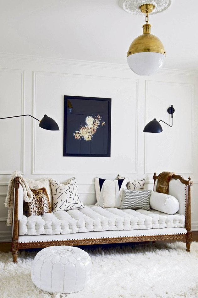 daybed in the living room idea with a white and wood daybed in a white room with a white shag rug