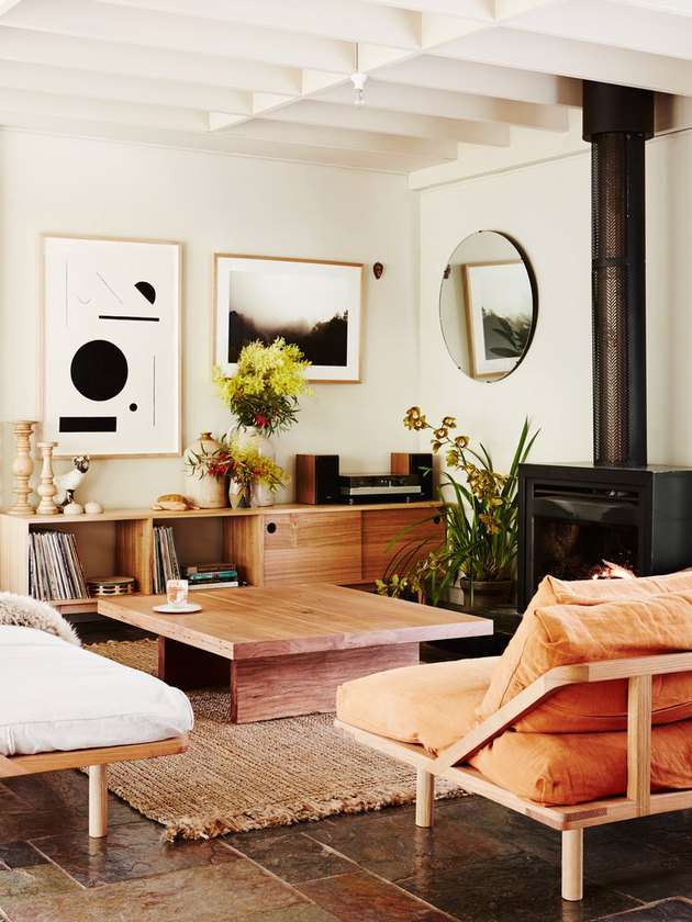 daybed in the living room idea with a peach and white daybed couches with a jute rug and wood coffee table