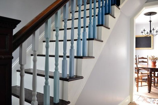 blue ombre spindles with wood stair railing and banister