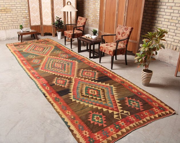 Orange-dominant geometric kilim runner