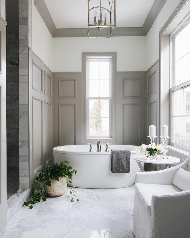 tall bathroom wainscoting idea
