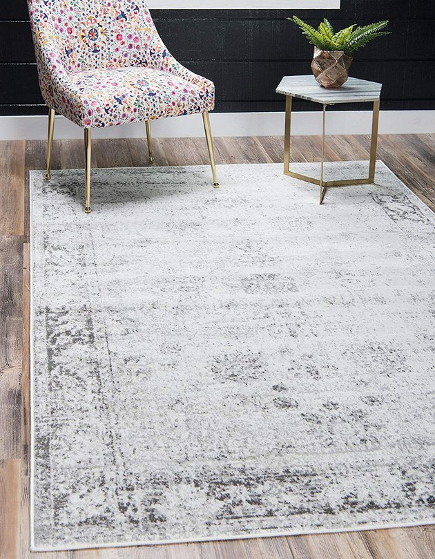 Gray area rug with subtle abstract design