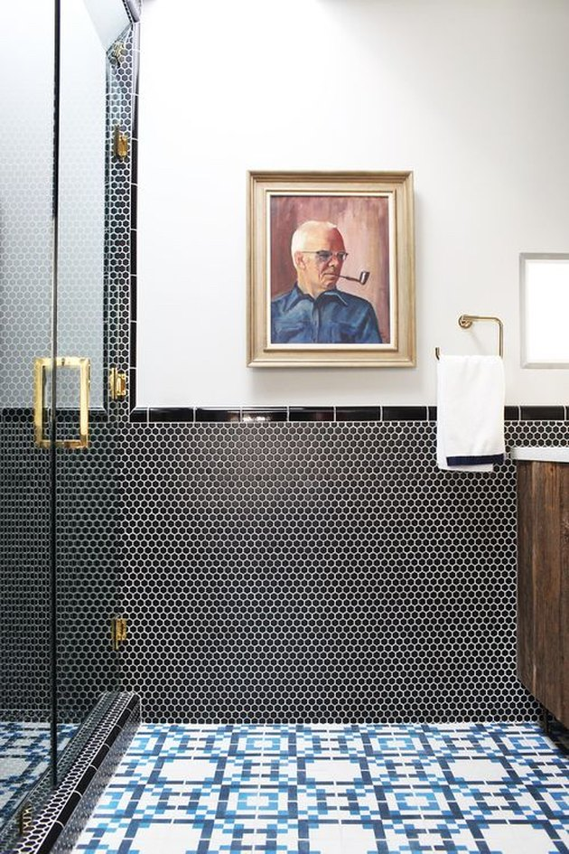 black round penny tile bathroom wainscoting idea