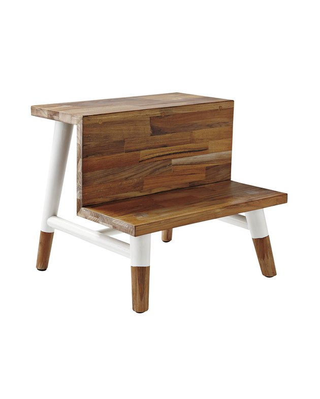 Natural wood stepstool with white accent