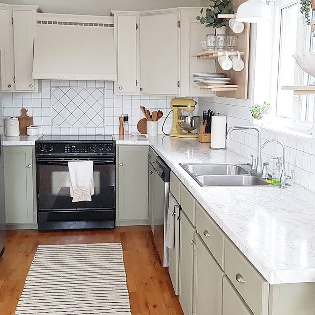 marble contact paper for countertops in kitchen with open shelving
