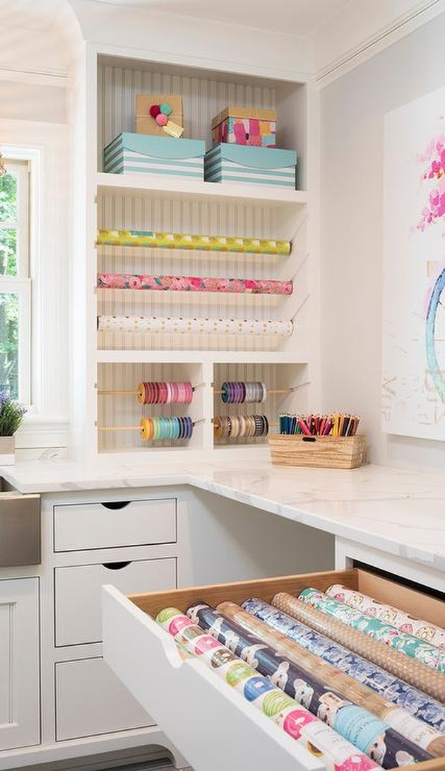 contact paper for countertops in an organized craft room