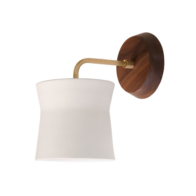 White shade wall sconce with natural wood base