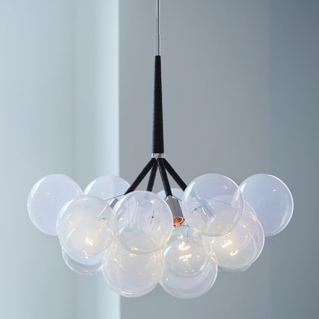 Multi-global opalescent pendant light with black base