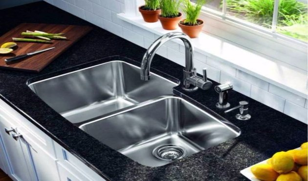 stainless steel sink in granite counter