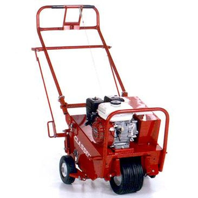 Self-propelled core aerator manufactured by Classen.