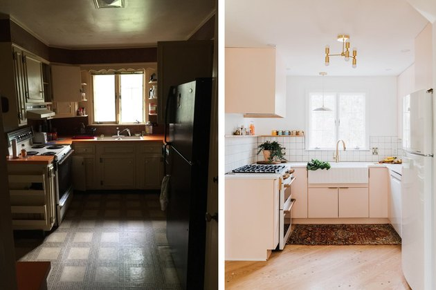 before and after of modern pink kitchen makeover