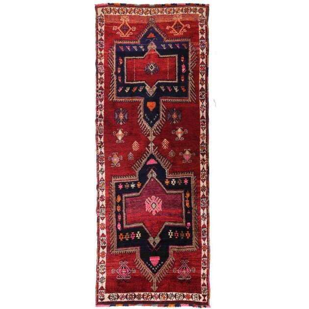 Red and black vintage runner, red dominant