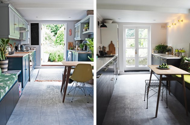 before and after of contemporary luxe kitchen makeover