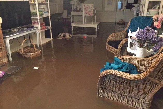 Flooded living room.
