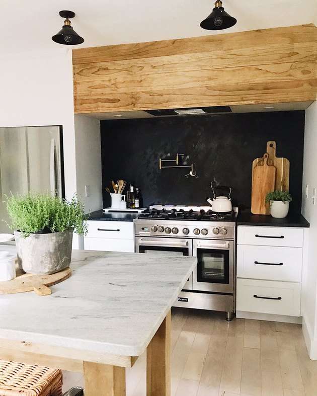 black kitchen backsplash idea