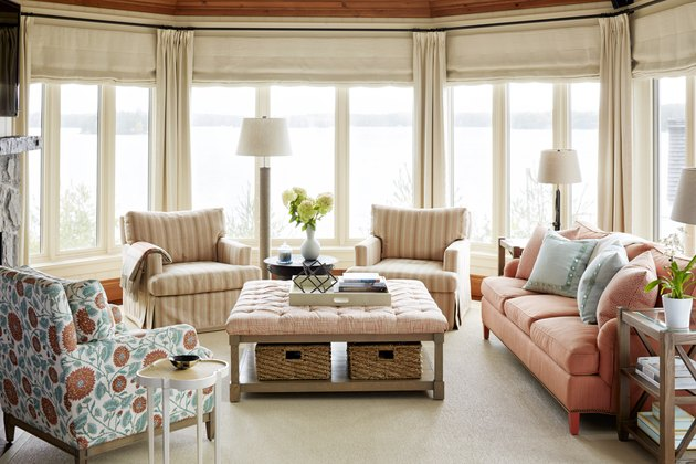 living room sofa ideas with coral sofa and lounge chairs