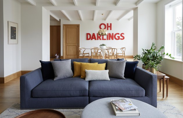 living room sofa ideas with blue two seat sofa