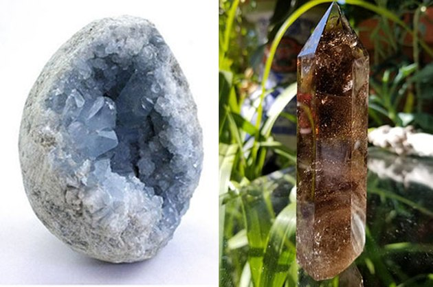 Celestite and Smoky Quartz
