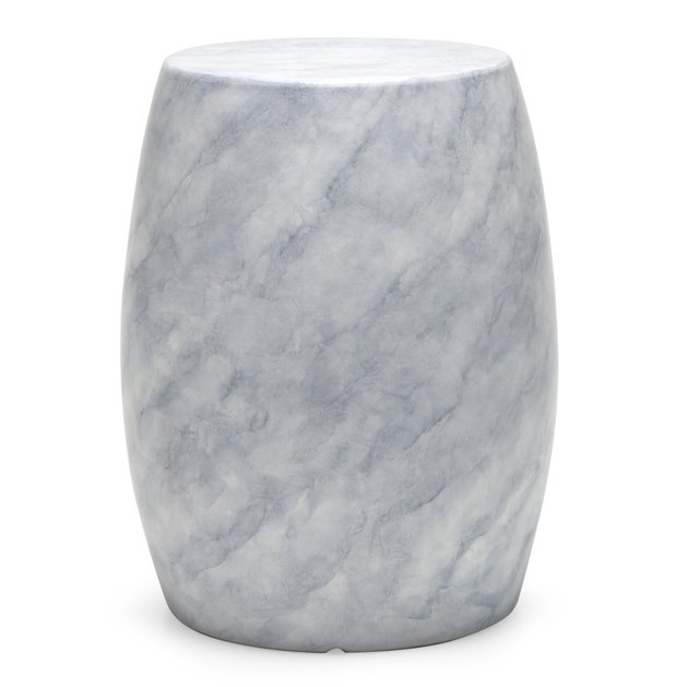 MoDRN Glam Round Faux Marble Outdoor Garden Stool